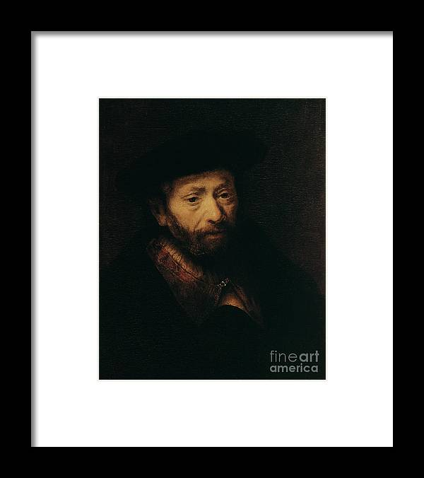 Headwear Framed Print featuring the drawing Portrait Of An Old Man, 17th Century by Print Collector