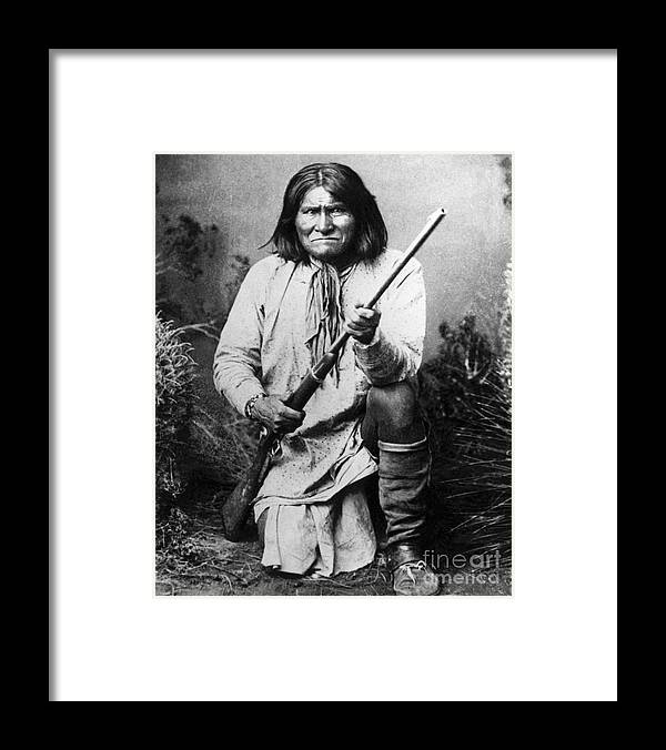 Rifle Framed Print featuring the photograph Portrait Of Apache Chief Geronimo by Bettmann