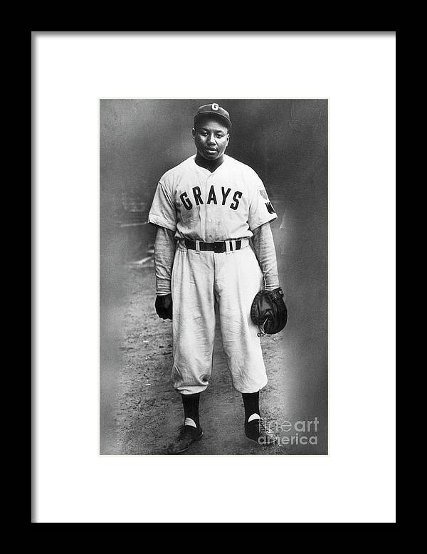 People Framed Print featuring the photograph Portrait Of Josh Gibson In Grays Uniform by Bettmann