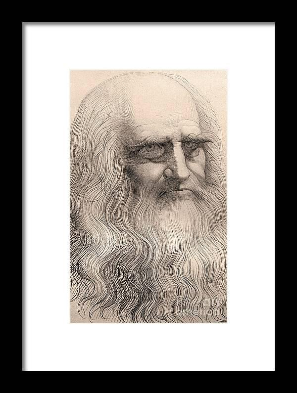 Da Framed Print featuring the drawing Portrait Of Leonardo Da Vinci by Italian School