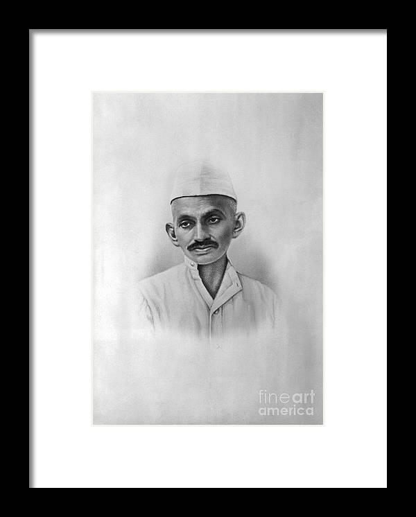 People Framed Print featuring the photograph Portrait Of Mahatma Gandhi by Bettmann