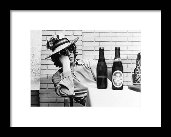 Mick Jagger Framed Print featuring the photograph Portrait Of Mick Jagger With A Sun Hat by Keystone-france