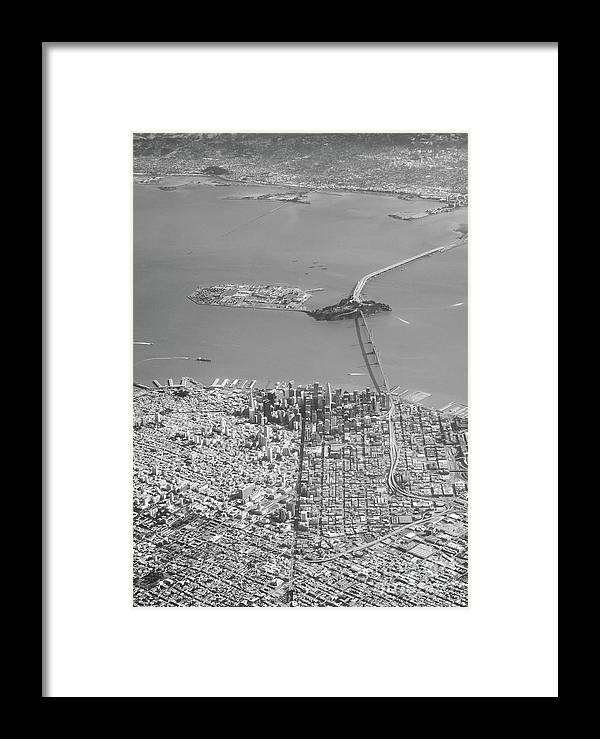 Bridge Framed Print featuring the photograph Portrait View Of Downtown San Francisco From Commertial Airplane by PorqueNo Studios