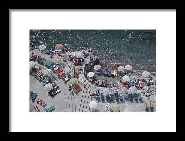 Curve Framed Print featuring the photograph Positano Beach by Slim Aarons