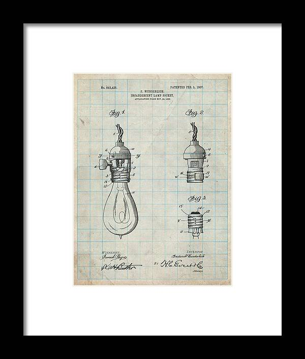 Pp890-antique Grid Parchment Incandescent Lamp Socket Patent Poster Framed Print featuring the digital art Pp890-antique Grid Parchment Incandescent Lamp Socket Patent Poster by Cole Borders