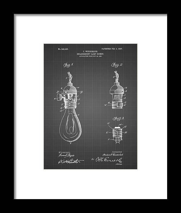 Pp890-black Grid Incandescent Lamp Socket Patent Poster Framed Print featuring the digital art Pp890-black Grid Incandescent Lamp Socket Patent Poster by Cole Borders