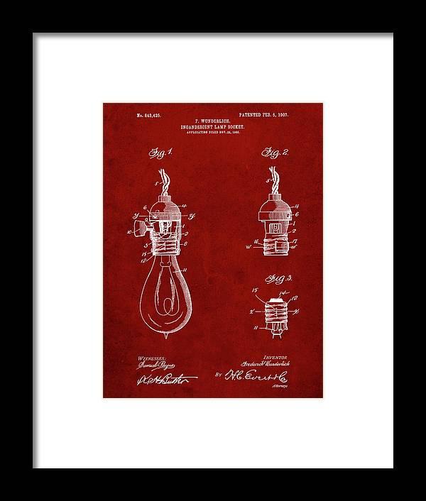Pp890-burgundy Incandescent Lamp Socket Patent Poster Framed Print featuring the digital art Pp890-burgundy Incandescent Lamp Socket Patent Poster by Cole Borders
