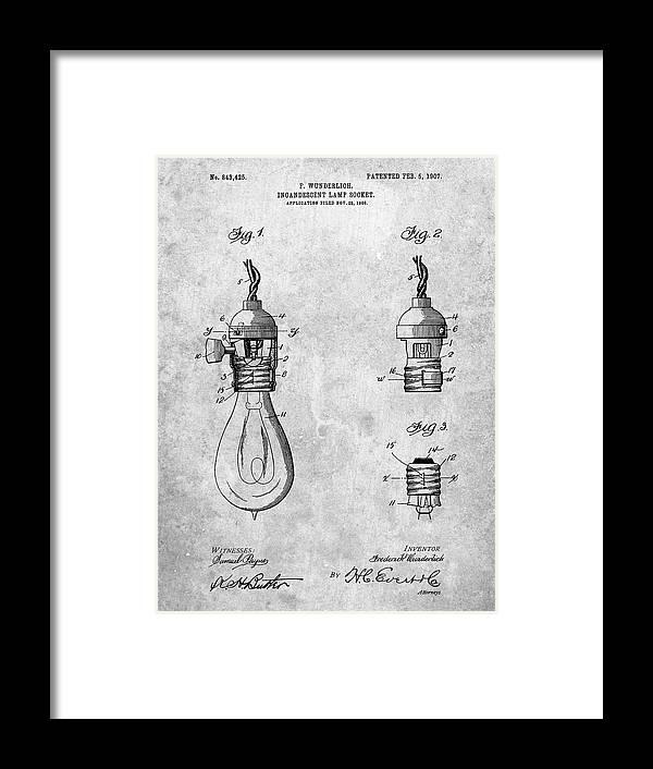 Pp890-slate Incandescent Lamp Socket Patent Poster Framed Print featuring the digital art Pp890-slate Incandescent Lamp Socket Patent Poster by Cole Borders