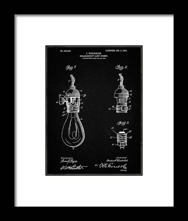 Pp890-vintage Black Incandescent Lamp Socket Patent Poster Framed Print featuring the digital art Pp890-vintage Black Incandescent Lamp Socket Patent Poster by Cole Borders