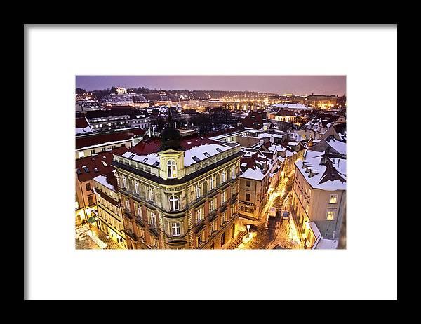 Snow Framed Print featuring the photograph Prague Lights by Usman Baporia