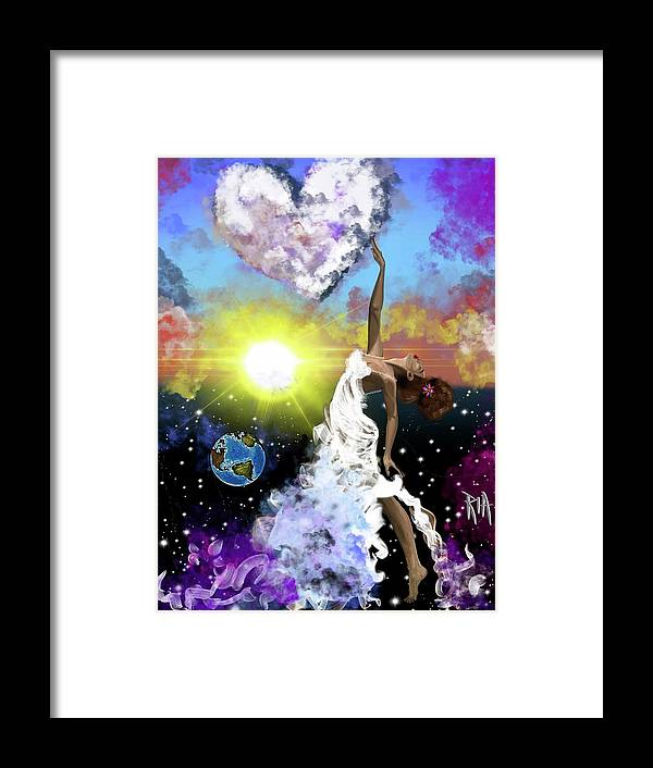Framed Print featuring the painting Prayer before the Sun Sets by Artist RiA