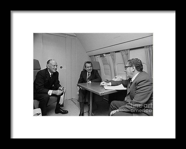 Advice Framed Print featuring the photograph Pres. Nixon Aboard Air Force One by Bettmann