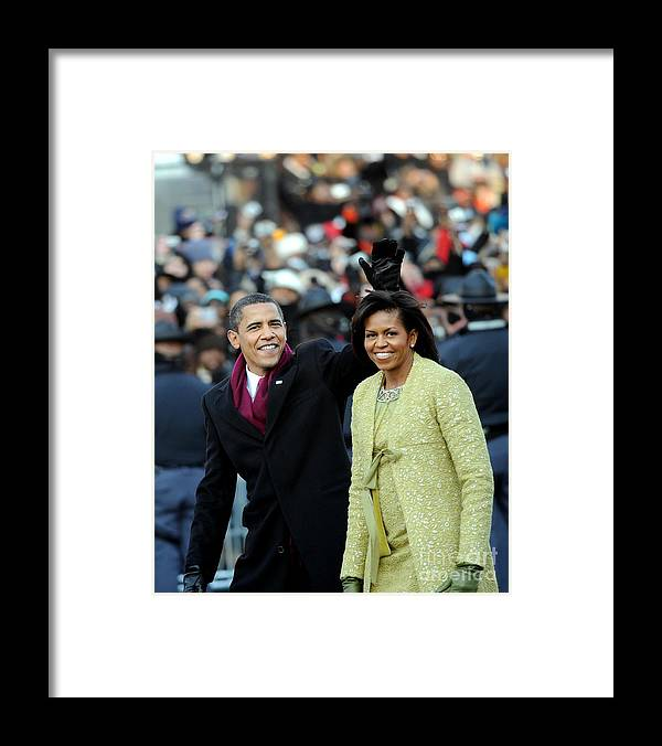 Inauguration Into Office Framed Print featuring the photograph President Barack Obama And First Lady by New York Daily News Archive