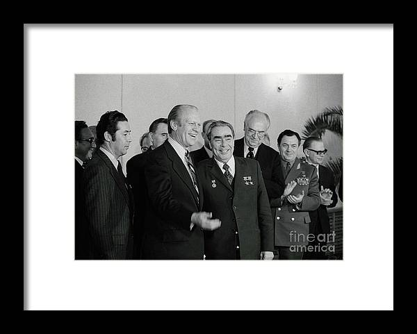 Leonid Brezhnev Framed Print featuring the photograph President Ford And General Secretary by Bettmann