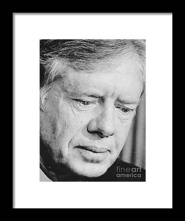 1980-1989 Framed Print featuring the photograph President Jimmy Carter Frowning by Bettmann