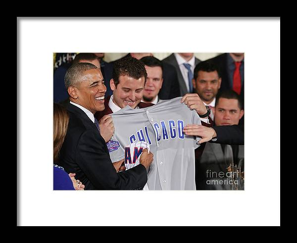 People Framed Print featuring the photograph President Obama Welcomes World Series by Mark Wilson
