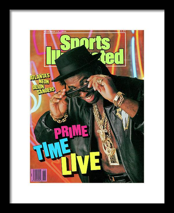 Atlanta Framed Print featuring the photograph Prime Time Live Atlantas Neon Deion Sanders Sports Illustrated Cover by Sports Illustrated