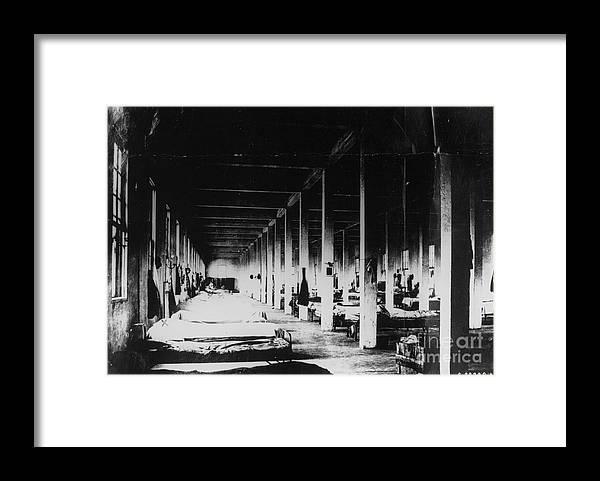 1910-1919 Framed Print featuring the photograph Prison Hospital Ward by Bettmann