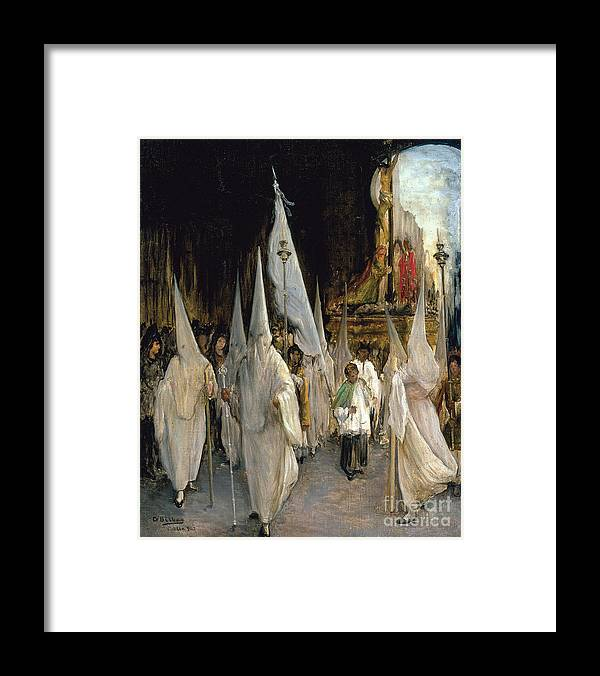 Oil Painting Framed Print featuring the drawing Procession Of The Seven Words. Artist by Heritage Images