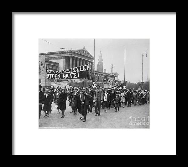 People Framed Print featuring the photograph Processiondemonstration On May-day by Bettmann
