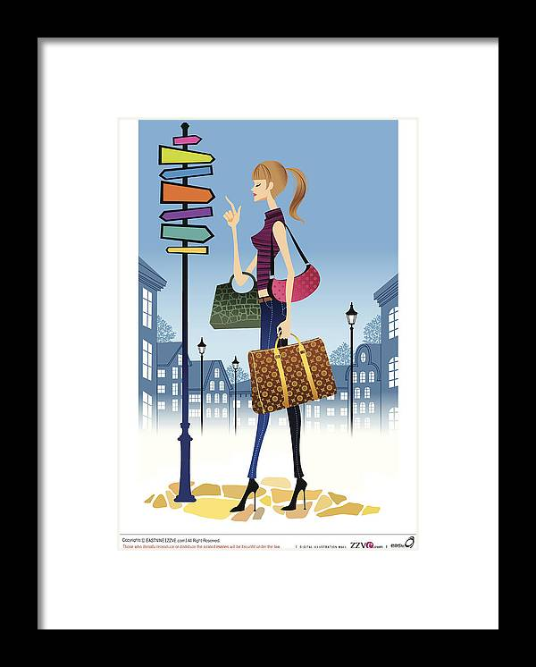 Problems Framed Print featuring the digital art Profile Of Woman Standing In Front Of by Eastnine Inc.