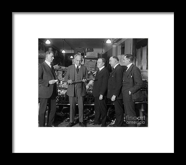 People Framed Print featuring the photograph Prohibition Officials Conversing by Bettmann