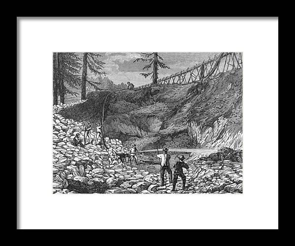 Engraving Framed Print featuring the photograph Prospectors Making Claim In Gold Rush by Hulton Archive
