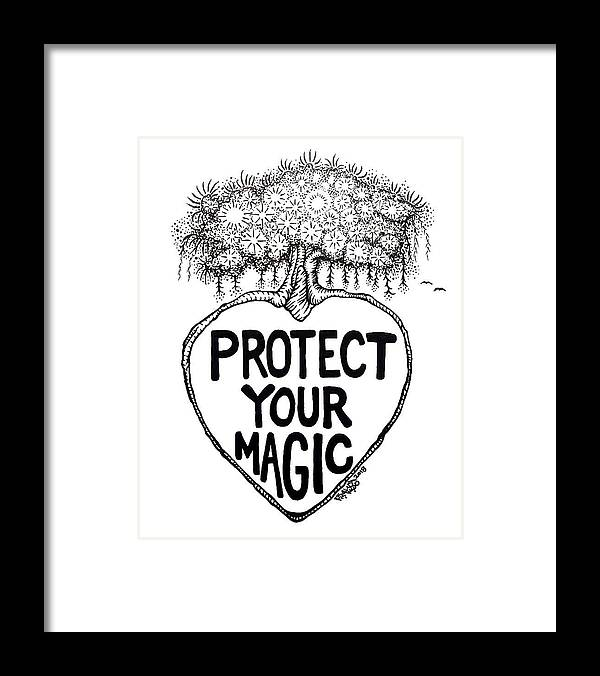 Pen And Ink Framed Print featuring the drawing Protect Your Magic Drawing by Rick Frausto