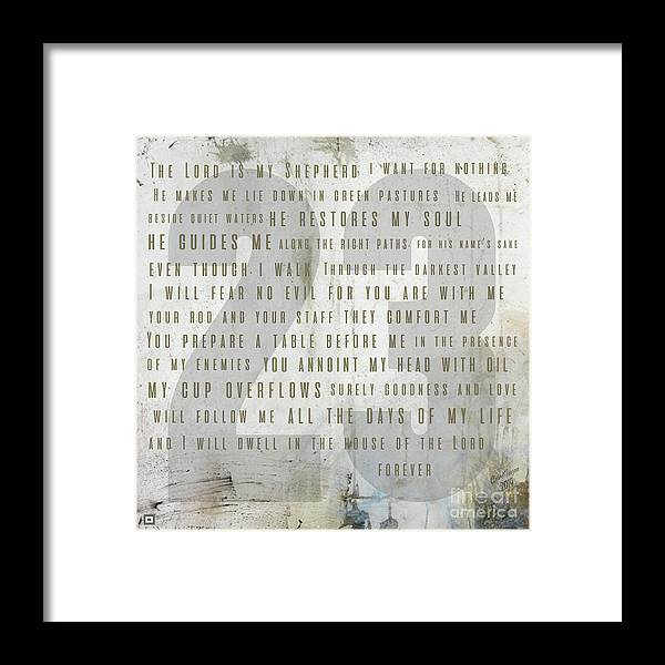 Psalm 23 Framed Print featuring the digital art Psalm 23 Light by Claire Tingen