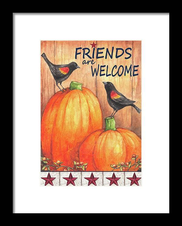 Pumpkin Blackbird Friends Welcome Framed Print featuring the painting Pumpkin Blackbird Friends Welcome by Melinda Hipsher