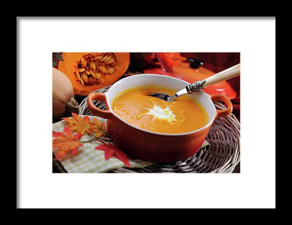 Event Framed Print featuring the photograph Pumpkin Soup In Skew With Creme Fraiche by Moncherie
