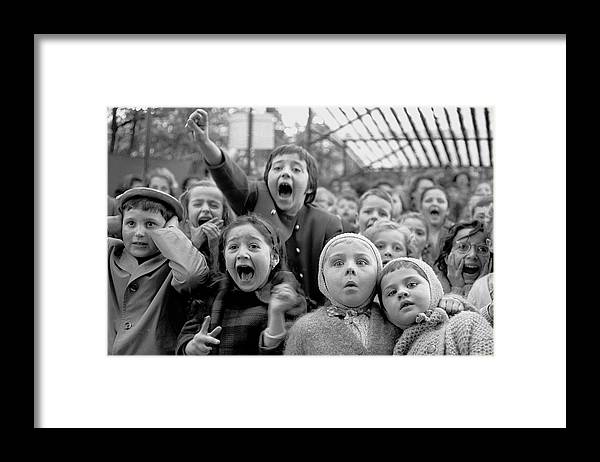 Timeincown Framed Print featuring the photograph Puppet Audience by Alfred Eisenstaedt