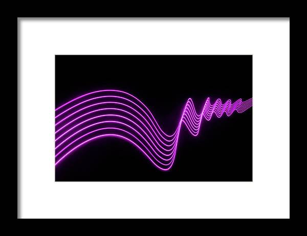 Laser Framed Print featuring the photograph Purple Abstract Lights Trails And by John Rensten