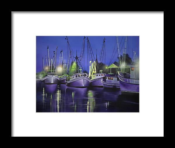 Purple Boats Framed Print featuring the painting Purple Boats by Geno Peoples