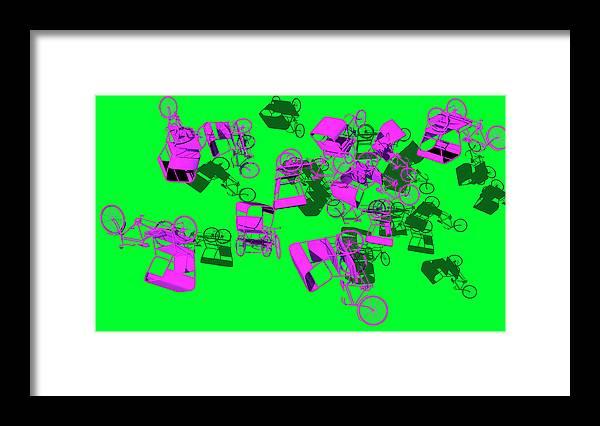Rickshaws Framed Print featuring the digital art Purple Rickshaws Flying by Heike Remy