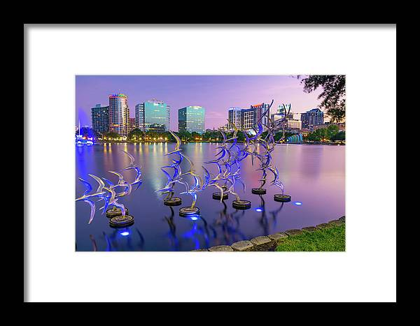 America Framed Print featuring the photograph Purple Skies At Lake Eola - Orlando Florida by Gregory Ballos