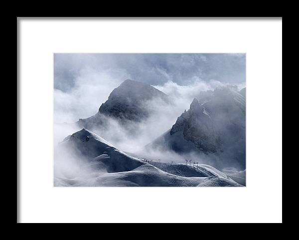 Scenics Framed Print featuring the photograph Pyramide And Roc Merlet In Courchevel by Niall Corbet @ Www.flickr/photos/niallcorbet