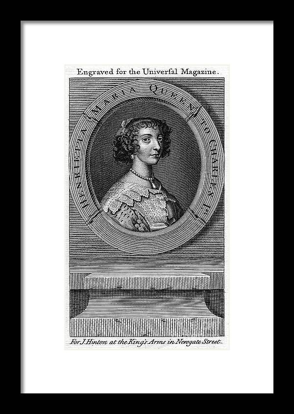 Engraving Framed Print featuring the drawing Queen Henrietta Maria, Queen Consort by Print Collector