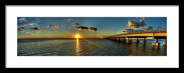 Panoramic Framed Print featuring the photograph Queen Isabella Causeway by Joshua Bozarth