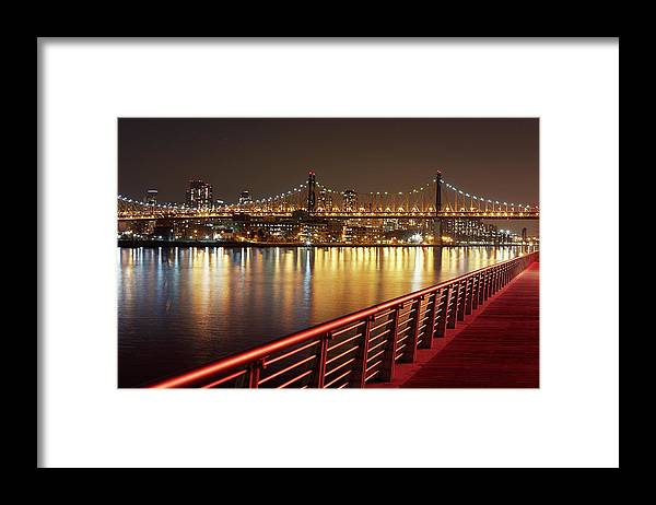 Built Structure Framed Print featuring the photograph Queensboro Bridge At Night by Allan Baxter