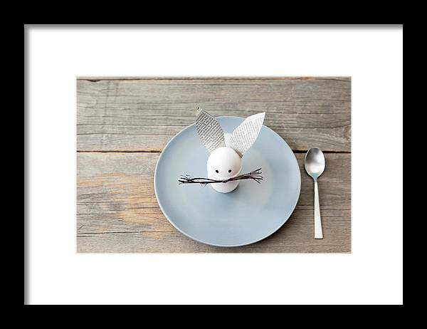 Holiday Framed Print featuring the photograph Rabbit Decoration On Plate by Stefanie Grewel