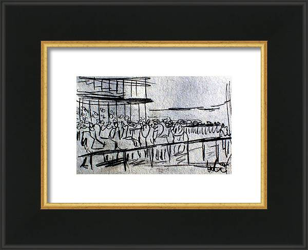 Coal Drawing Framed Print featuring the drawing Racecourse Iffezheim Baden-baden Germany by Andreas Hoetzel