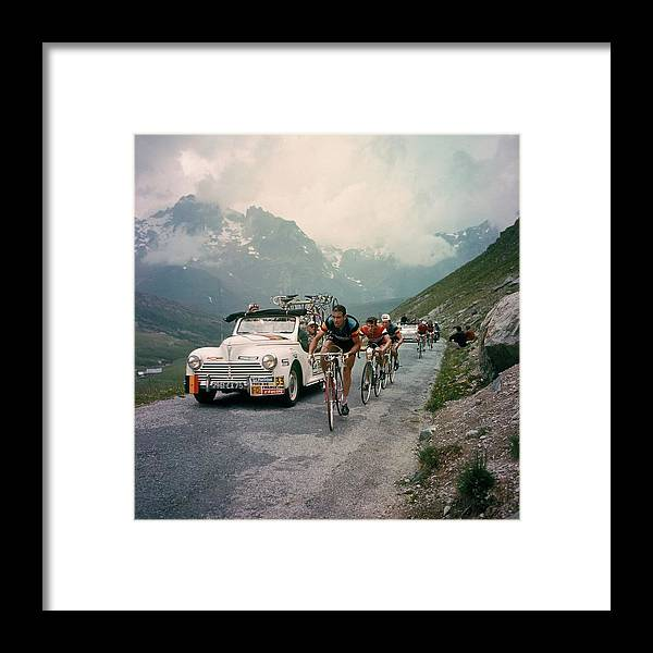 European Alps Framed Print featuring the photograph Racing Cyclists Of The Tour De France by Keystone-france