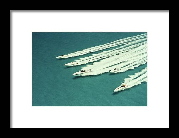 Wake Framed Print featuring the photograph Racing Speedboats by Robert Holland