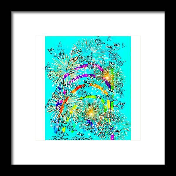 Rainbows Framed Print featuring the digital art Rainbow Fireworks 24 by Moylom Art Studio