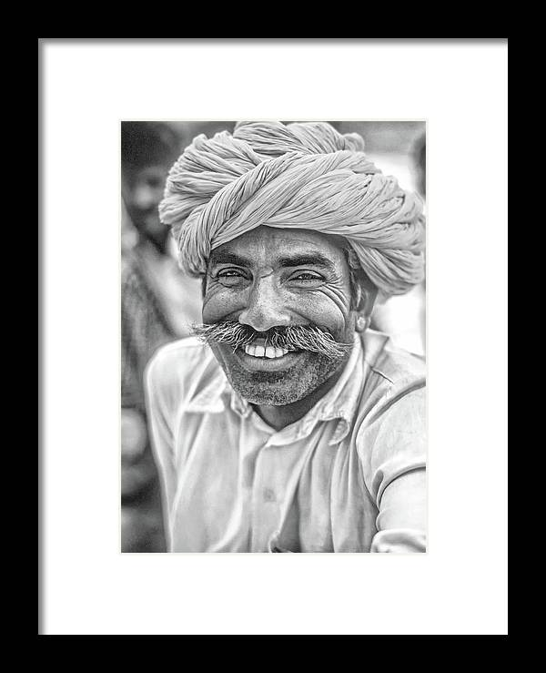 Steve Harrington Framed Print featuring the photograph Rajput High School Teacher Bw by Steve Harrington