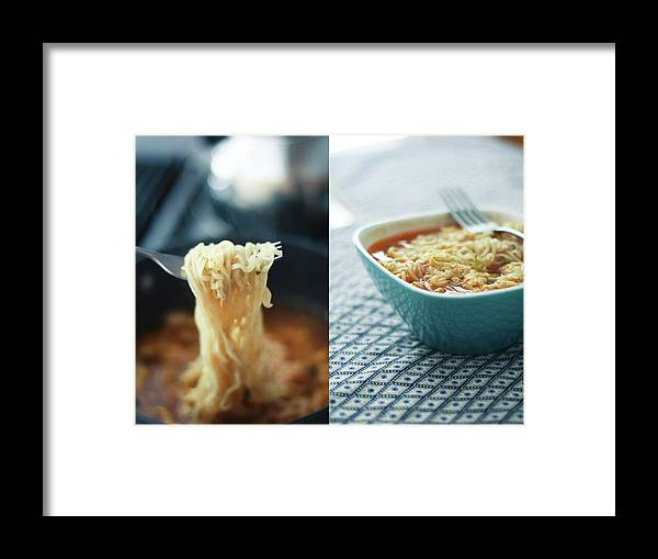 Kitchen Framed Print featuring the photograph Ramen Noodles Diptych by Alice Gao Photography