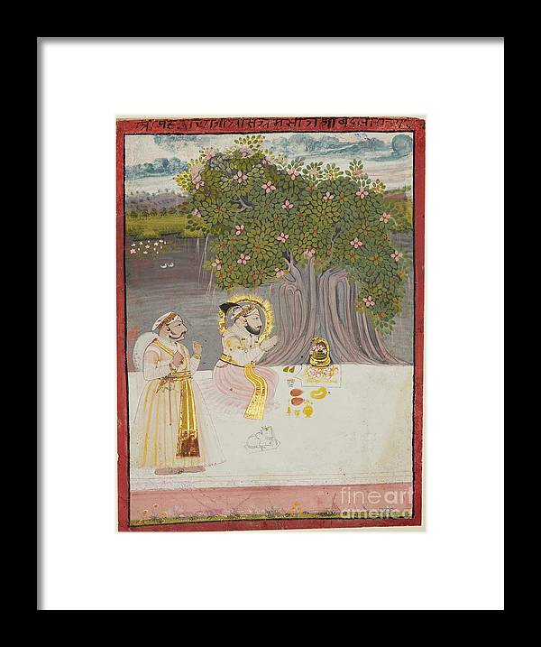 Rajasthan Framed Print featuring the drawing Rana Sangram Singh Worshipping A Linga by Heritage Images