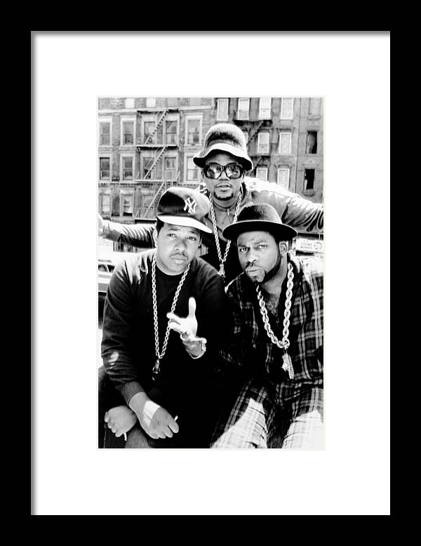 1980-1989 Framed Print featuring the photograph Rap Group Run Dmc Are L.-r. Dj Run by New York Daily News Archive