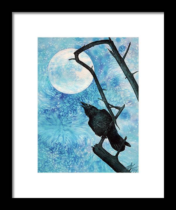 Raven Framed Print featuring the painting Raven with Torrey Pine Branch and Cold Moon by Robin Street-Morris